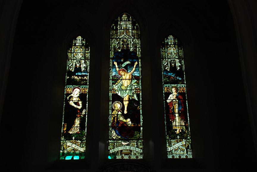 The stained glass work inside Christ Church, Kasauli.