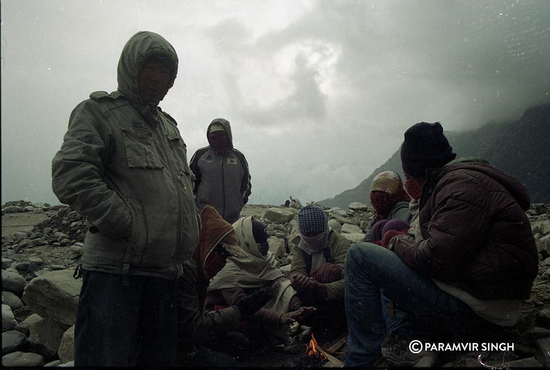 People around bon fire, Manali