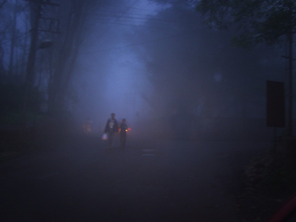 A foggy January evening at Panchgani.