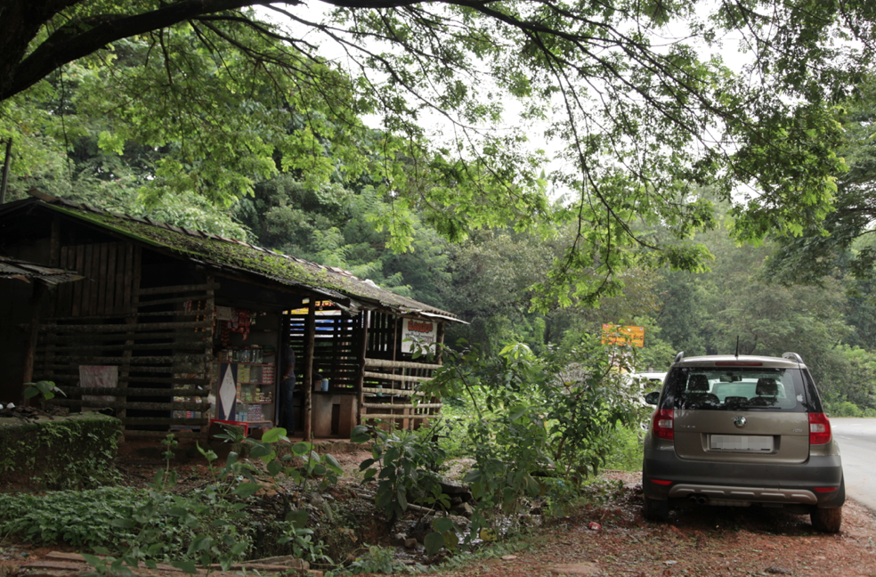 Stopping at a roadside shack in the Western Ghats