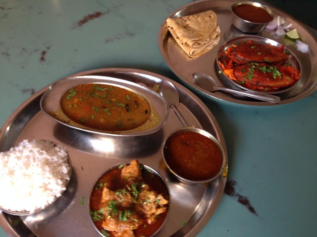 trying a Mahrashtrian thali meal near Bhor Rajwada