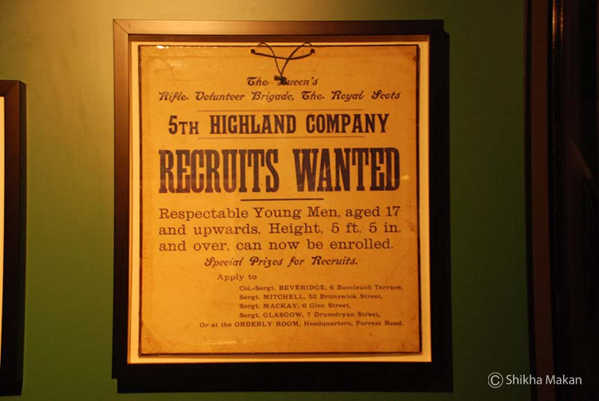 An early recruitment poster on display at the National War Museum, Edinburgh Castle.