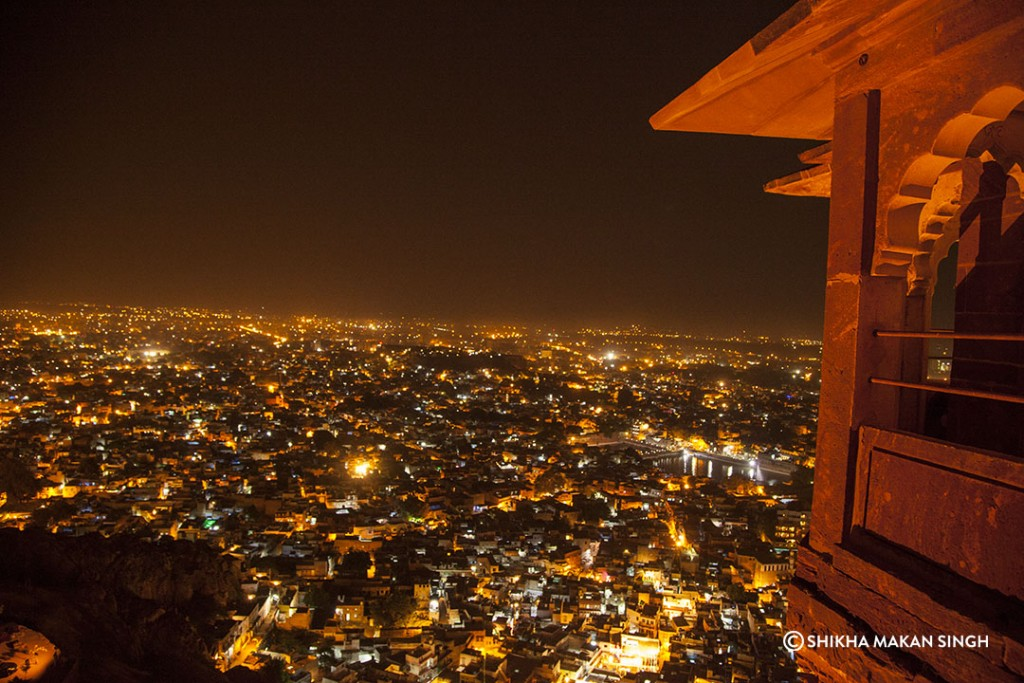 Atop Mehrangar Fort, the Jodhpur City dazzles at night.