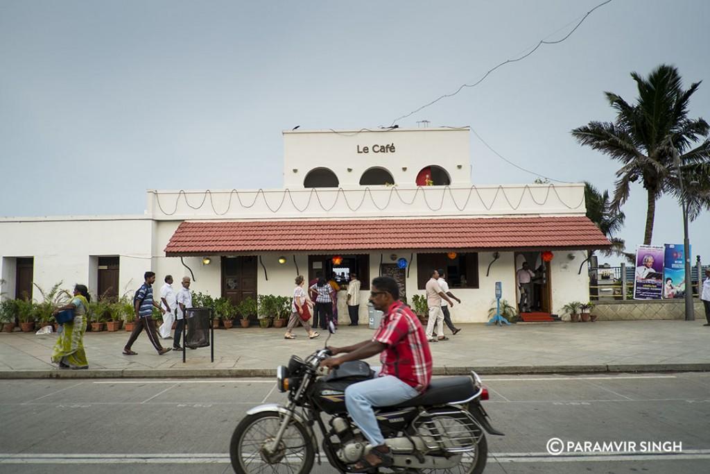 Le Cafe on Beach Road, Pondicherry.