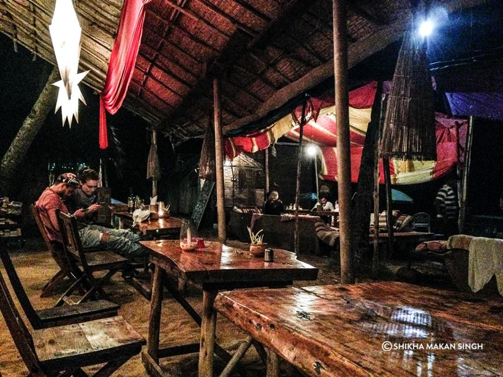 Dinner at beach shack in south Goa.