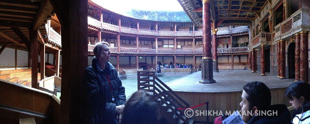 Inside The Globe Theatre.