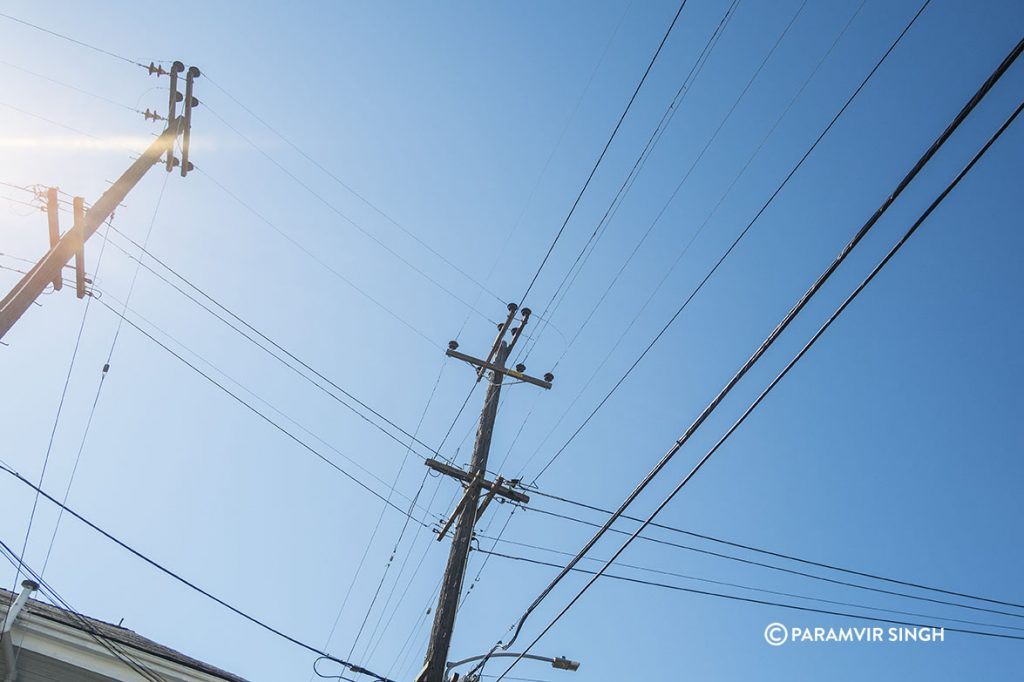 Overhead electric cables, Oakland, USA, 2017
