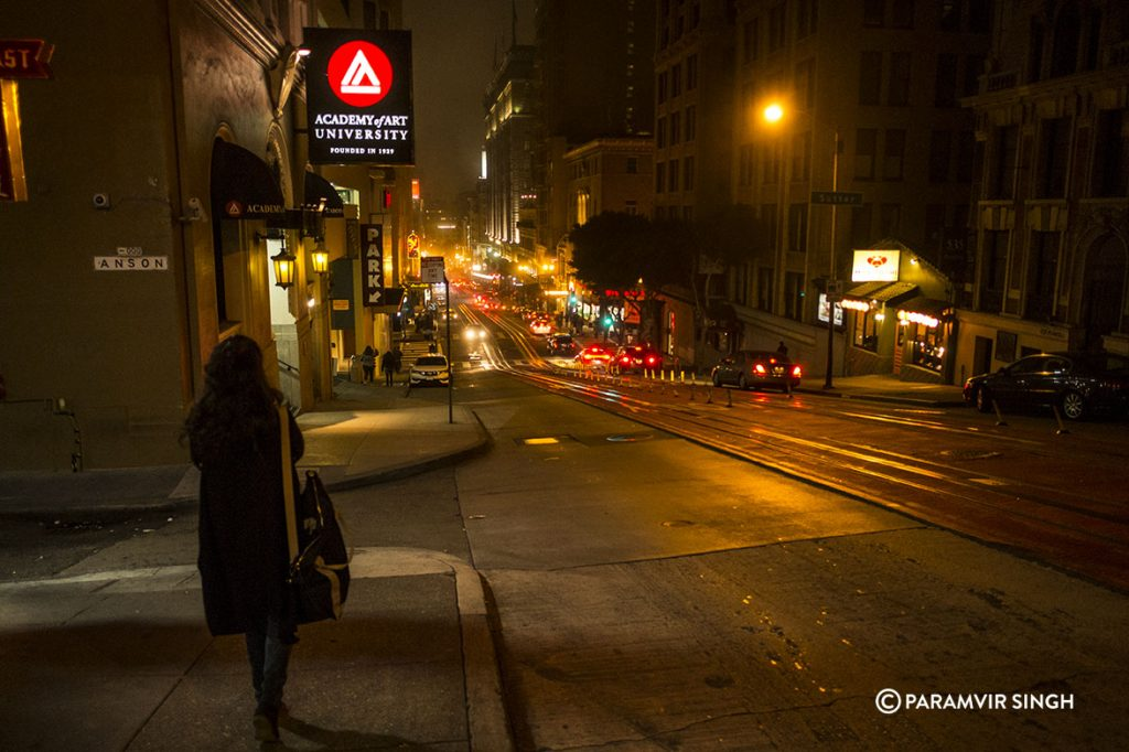 San Francisco Powell Street at night.