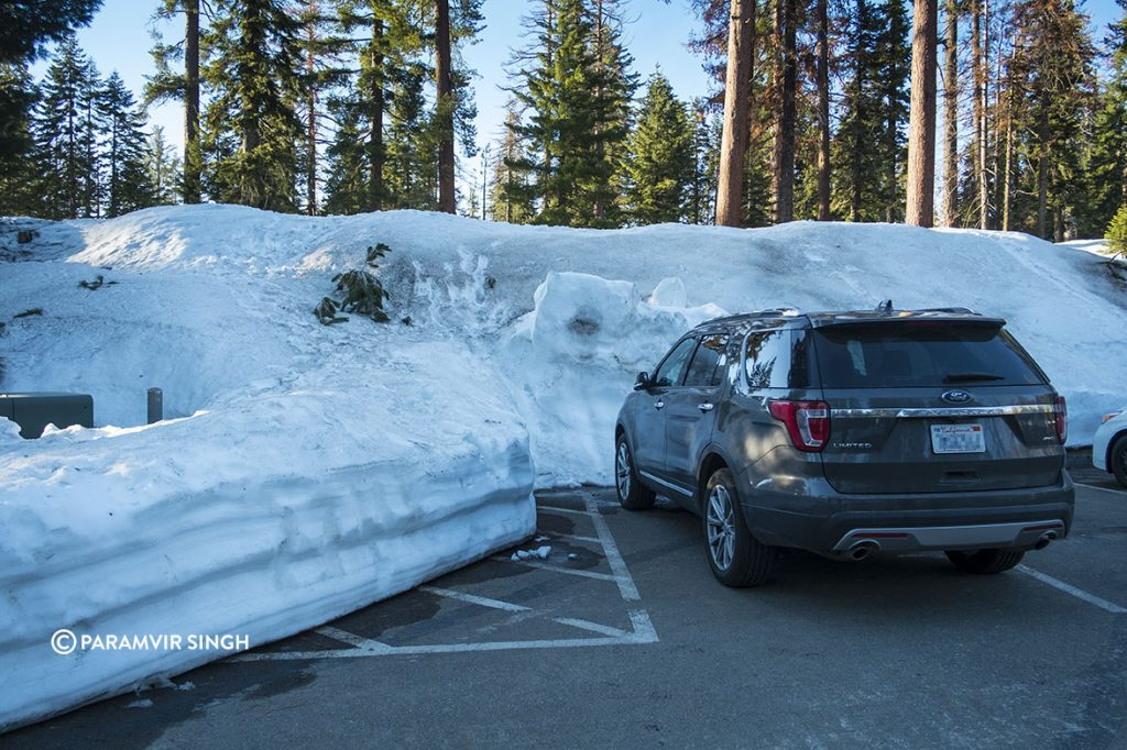 Sequoia National Park snow in parking lot.