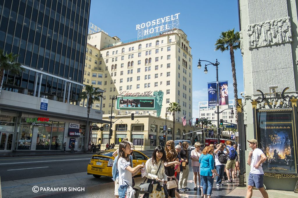 Tourists on Hollywood Boulevard