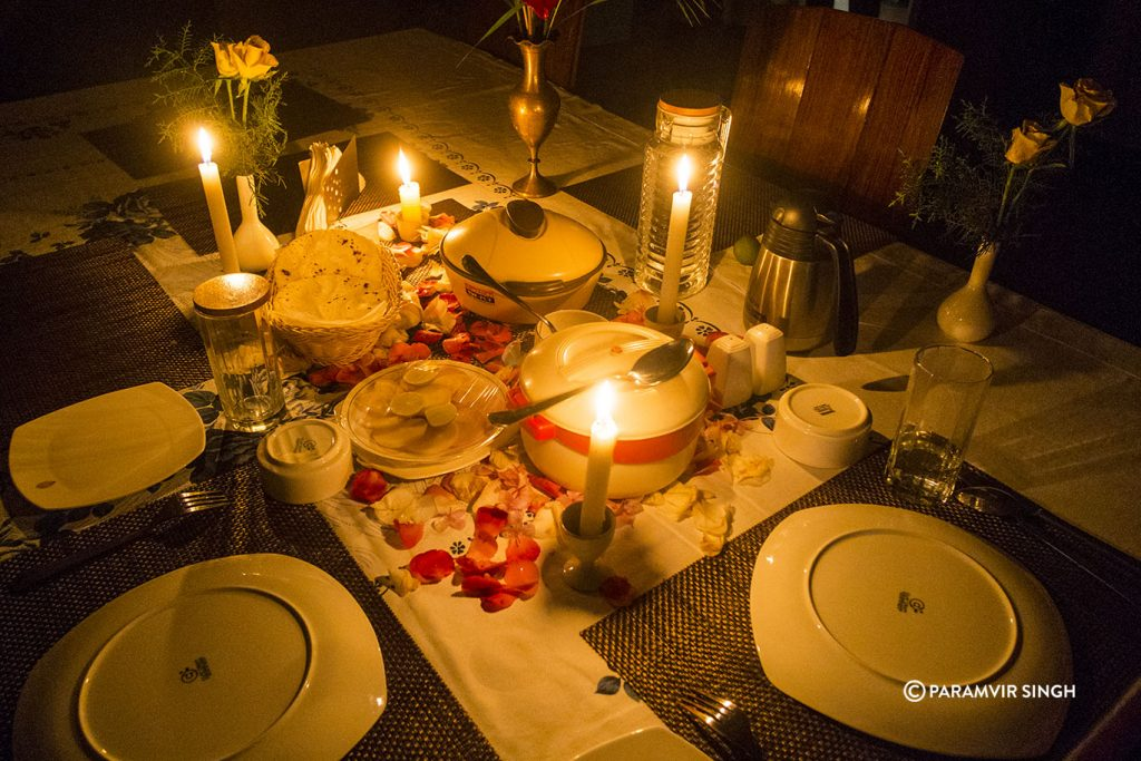 Romantic dinner in Chikmagalur