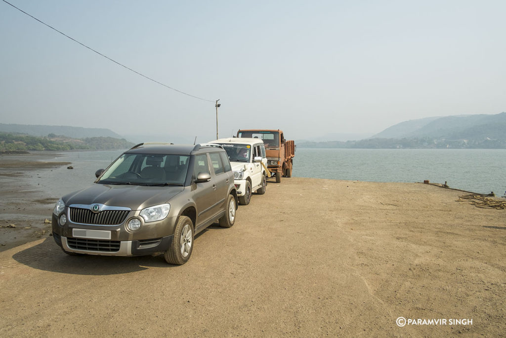 Cars in queue for ferry.