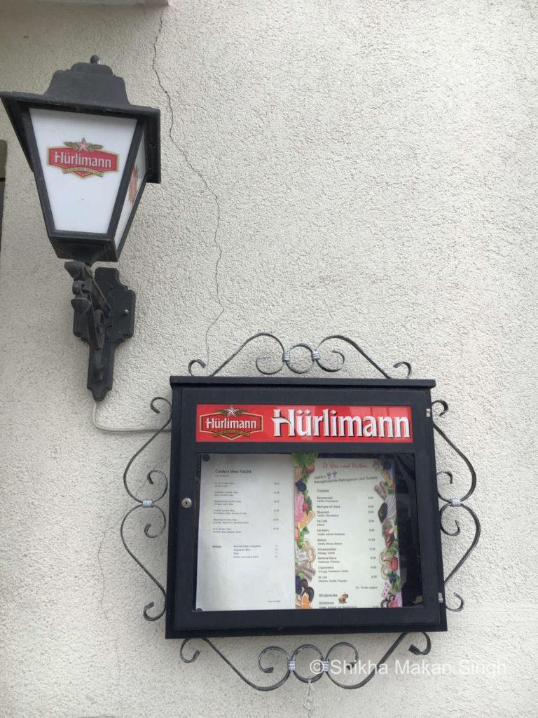 Hurlimann Menu