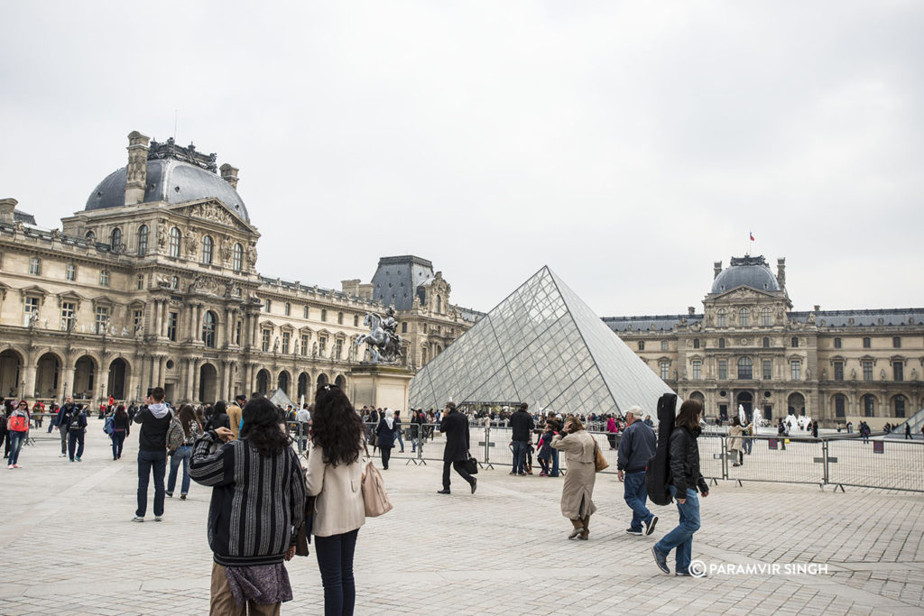 Visitors at the Louvre.