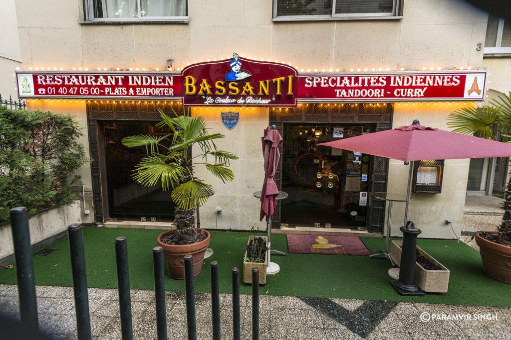 Bassanti Indian restaurant in Paris.