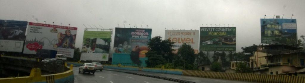Billboards kill the scenery in Lonavala.