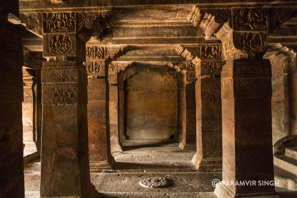 Pillars in cave 2 of Badami caves