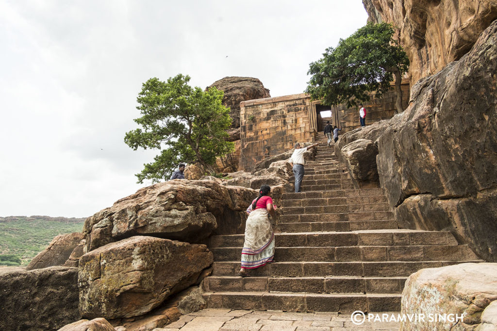 Climbing up the steps in Badami