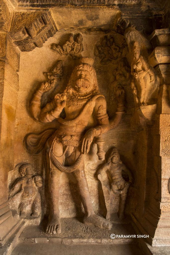 Narasimha Avatar of Visnhu in Cave 3 of Badami Caves