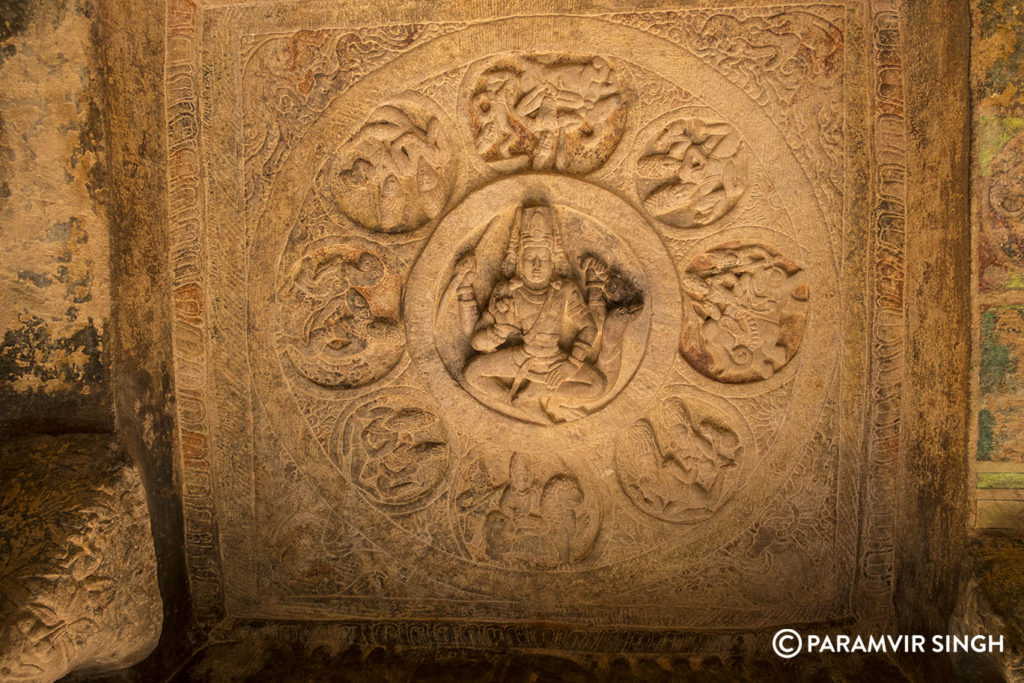 Brahma on Ceiling of Cave 3 at Badami Caves