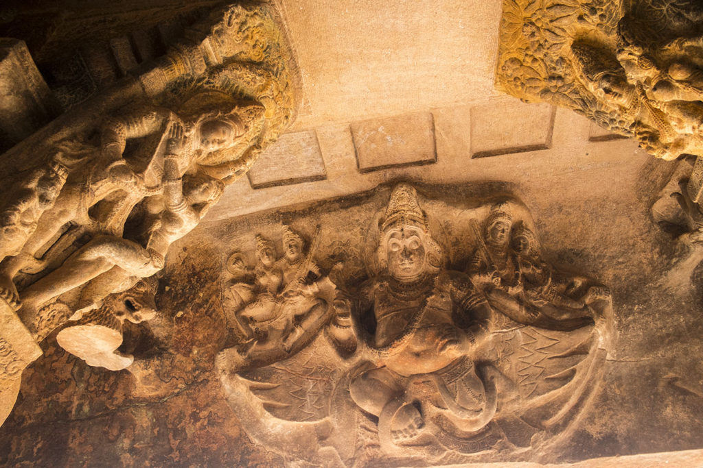 Yakshas Carved on ceiling of Cave 3 in Badami Caves