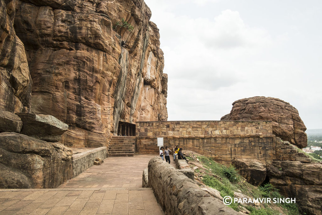 Outside Cave 3 of Badami Caves