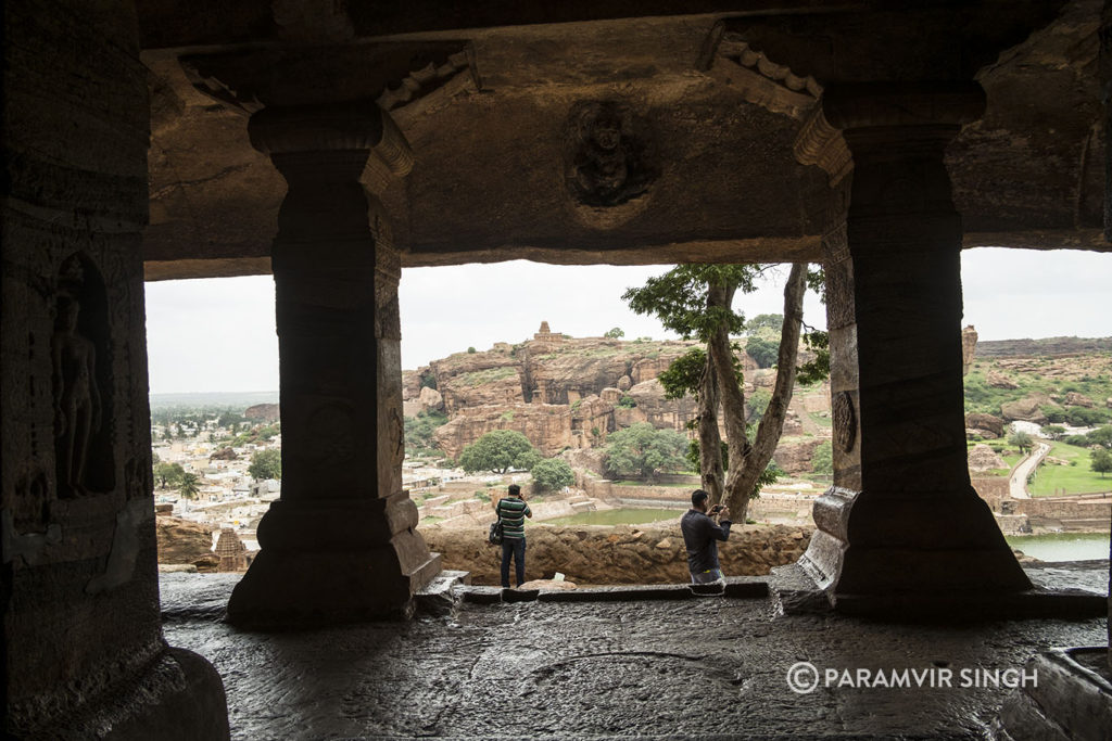 View from inside cave 4 of Badami caves