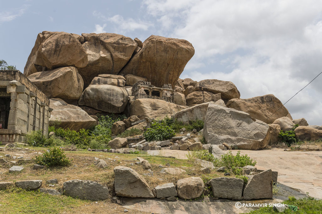 Temple amidst boulders in Hampi