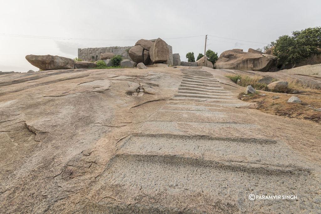 Steps carved on rock in Hampi