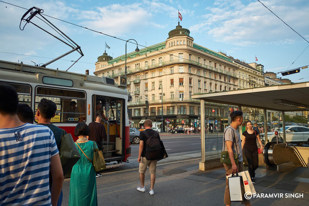Metro and tram in Vienna, Austria