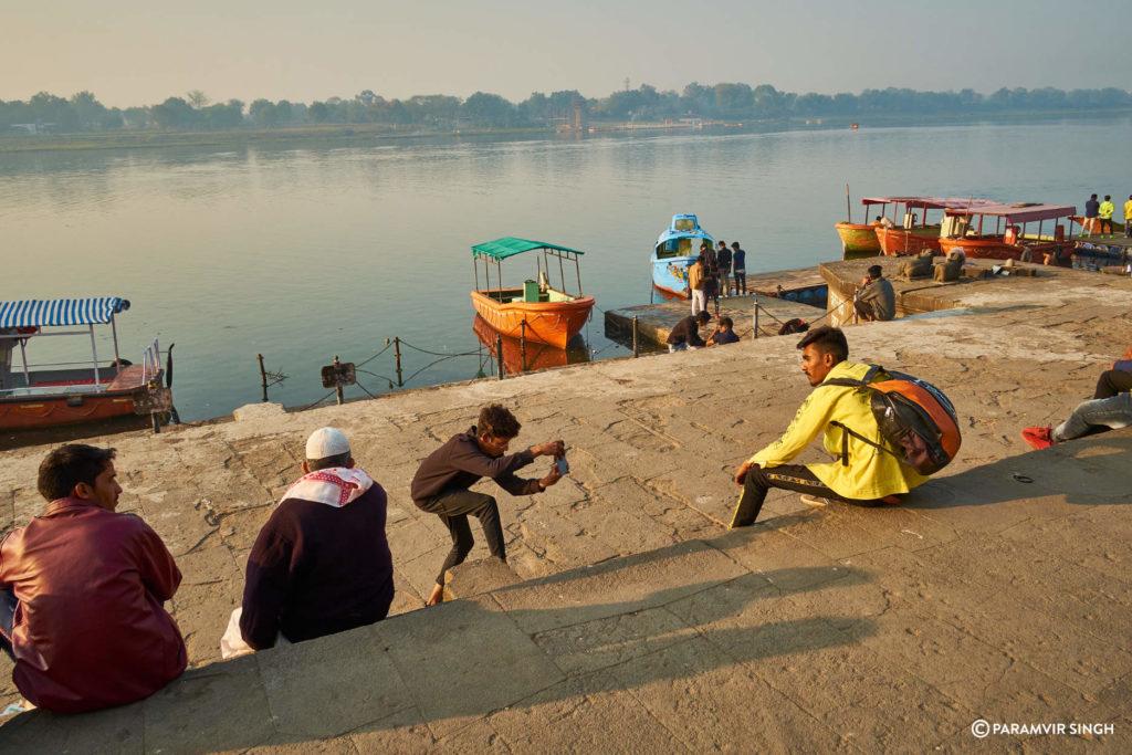 Youth Taking Photos on Maheshwar Ghats